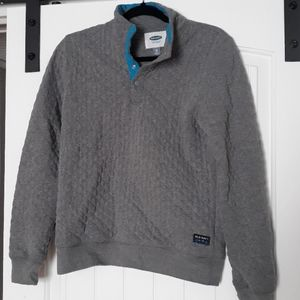 Quilted old nay pullover snap sweatshirt